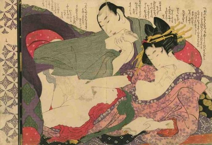 oban yoko e tsui no hinagata modèles de couples amants se séparant avec attention après létreinte by katsushika hokusai