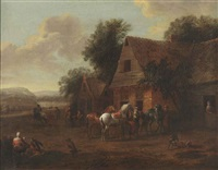 a mountainous landscape with figures near an inn by barend gael