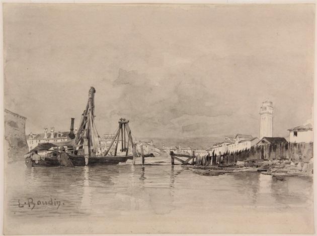 venice dredging by eugène boudin