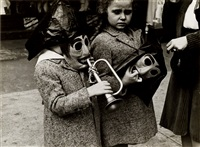 two girls with masks and a trumpet by helen levitt