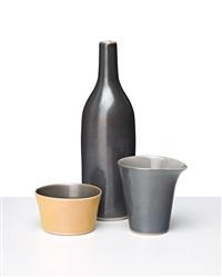 still life with yellow dish, c1994 (3 pieces (1 bottle, 1 beaker, 1 dish)) by gwyn hanssen pigott
