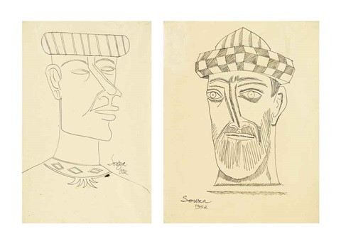 untitled (man wearing turban) (2 works) by francis newton souza