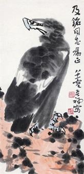 英雄图 镜心 设色纸本 (eagle) by li kuchan