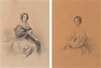 portrait de mademoiselle cécile bocquet et portrait de madame gabrielle gérard (pair) by paolo (or mercury) mercuri