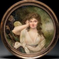 jeune femme pensive accoudée à un rocher, en robe de voile blanc, chevelure retombant en boucles sur les épaules et fond de forêt by louis sené