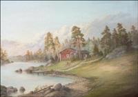 punainen torppa järven rannalla by rudolph akerblom