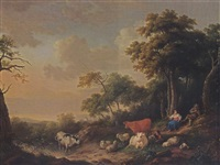 a wooded landscape with a shepherd playing a flute and a shepherdess spinning under a tree, their herd resting in the foreground by franciscus xavery