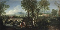 a river landscape with a bridge by paolo anesi
