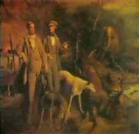 portriat of robert and thomas george barclay out stalking by thomas duncan