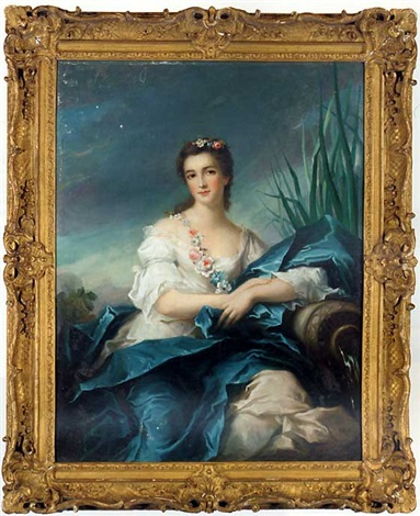 portrait of a lady, as a river goddess, in a white satin dress and blue mantel, a garland of flowers over her shoulder by jean baptiste nattier