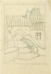 station; arches; house bridge (3 preparatory studies for linoncuts, 1 w/crayon, various sizes) by ursula fookes