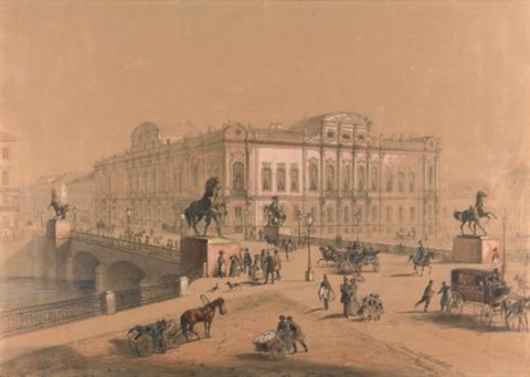 view of the anichkov bridge, st. petersburg by josef iosefovich charlemagne