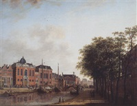 the houtgracht, amsterdam, with the ashkenazi synagogues the arsenal, the portugese synagogue, sailing barges and townsfolk by jan ten compe