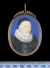a gentleman, wearing black doublet with fur trimmed sleeves, pleated ruff and black bonnet by nicholas hilliard