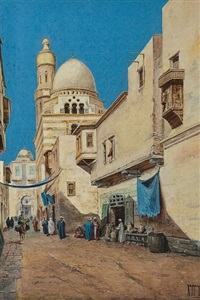 street scene in cairo by vittorio rappini