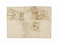 three designs for a decorative frieze with winged putti riding dolphins, and harpies playing violins and holding tablets by filippo (filippino) lippi
