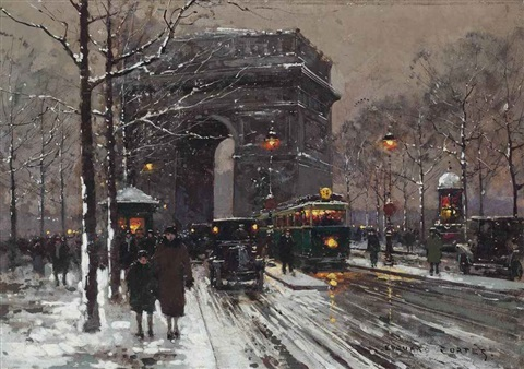 figures strolling through the snow at the arc de triomphe paris by edouard léon cortès