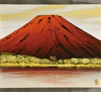 the mount fuji in red by misao yokoyama