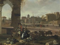 an italianate townscape with a market in the foreground and figures congregating on the piazza by hendrick mommers