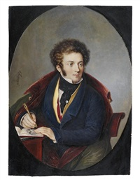 a young artist seated at a desk by louis marie autissier