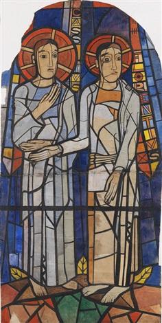 cassius und florentius. original-ausführungskarton für das glasfenster in der krypta des bonner münsters by heinrich campendonk