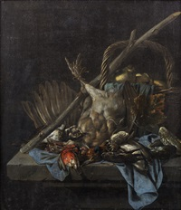 dead birds in a basket on a draped stone ledge by cornelis van lelienbergh