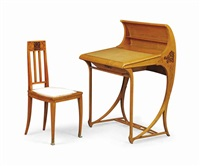 rare writing desk and chair (2 works) by carlo zen
