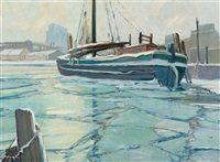 thin ice, montreal harbour by charles walter simpson