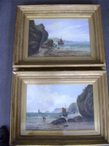 coastal landscapes with sailing vessels and fisherfolk pair by william gilbert foster