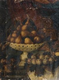coupe de poires, prunes et figues sur un entablement by pedro de camprobin
