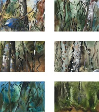 rainforest, queensland (6 works) by albert lee tucker