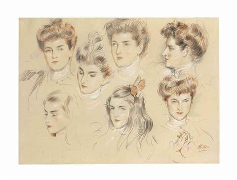 five studies of the head of a woman and two studies of the head of a young girl by paul césar helleu