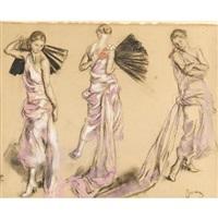 femme à la robe rose et à l'éventail (study) by etienne drian