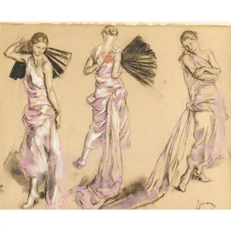 femme à la robe rose et à léventail study by etienne drian