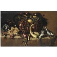 natura morta con ortaggi, limoni, colombe, pollame e un gatto by bartolomeo arbotori
