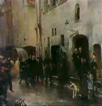 historische strassenszene by henri courselles-dumont