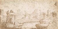 phantastische landschaft mit hirte an einem teich by carlo antonio buffagnotti