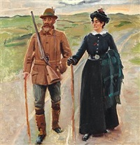 sødring and his wife. study for hjem fra jagten by michael peter ancher