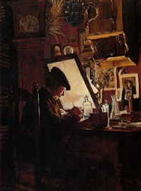 an amateur etcher (an etcher in his studio) by charles frederick ulrich