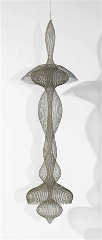 untitled s093 hanging seven lobed two part interlocking continuous form within a form by ruth asawa