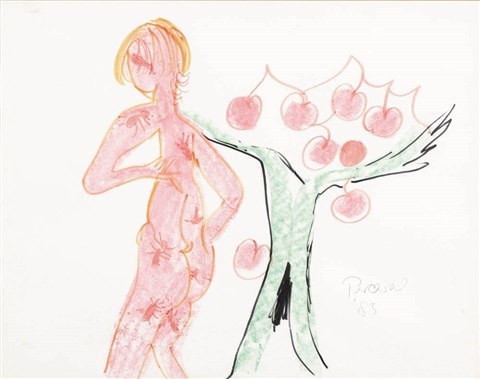 nude figure with cherry tree by john de burgh perceval