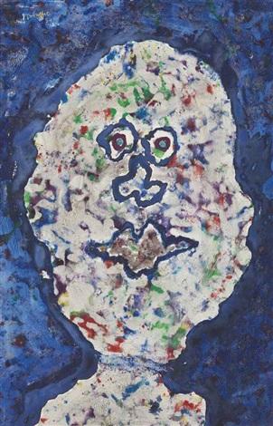 tête sur fond bleu by jean dubuffet