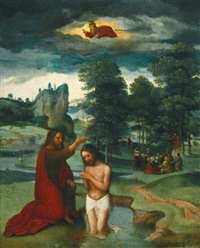 the baptism of christ in a landscape with the preaching of st. john the baptist in the background by gerard david