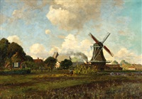 view of a landscape with a mill in barchem by johan ernst bäumer
