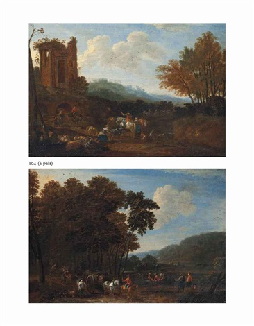 a wooded landscape with shepherds resting with their flock by a ruined temple and a wooded river landscape with a horse drawn timber cart pair by adrian fransz boudewijns and pieter bout