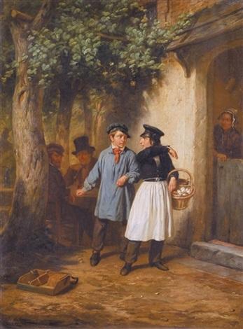 de discussie voor de herberg by hendrick joseph dillens