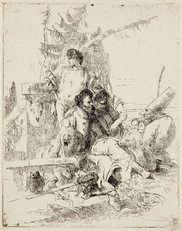 polichinelle parlant a deux magiciens pl9 from scherzi by giovanni battista tiepolo