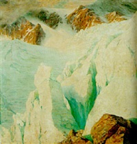 an alpine scene by harry william adams