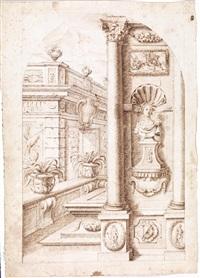 capriccio architettonico con busto in una nicchia by carlo antonio buffagnotti
