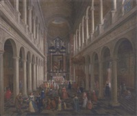 the interior of st. charles borromeo, antwerp, with elegant company by wilhelm schubert van ehrenberg